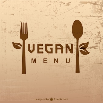 Vegan menu with a spoon and a fork