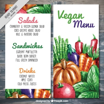 Vegan menu with hand painted food