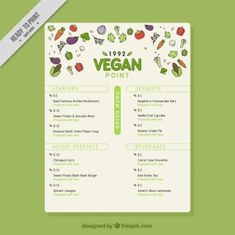 Vegan menu with healthy food and green details