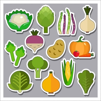 Vegetable stickers collection