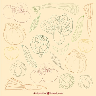 vegetables colour doodle