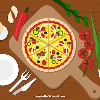 Vegetables pizza background