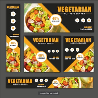 Vegetarian Food Banner Set