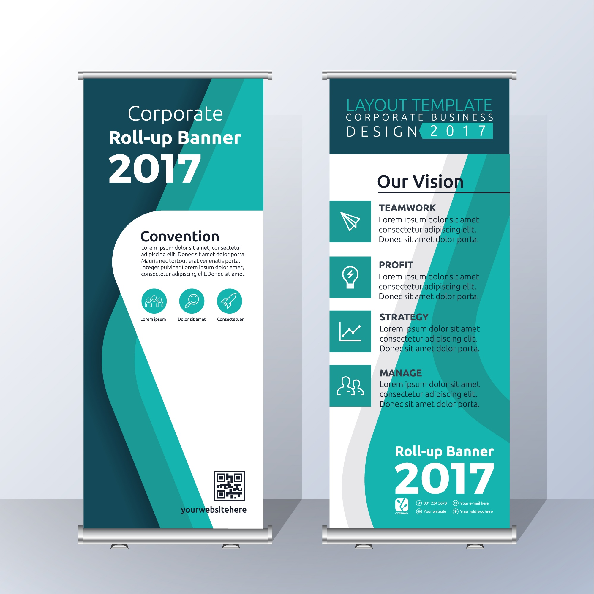 Vertical Roll Up Banner Template Design for Announce and Advertising. Abstract green Color Scheme Layout Template