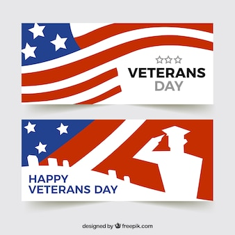 Veteran's day banner with flag design