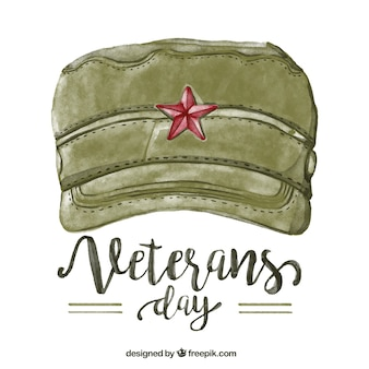 Veterans day background of cap watercolor