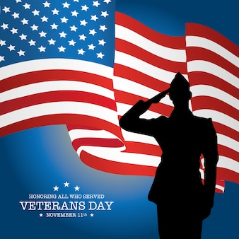 Veterans day with soldier and flag background
