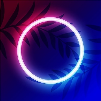 Vibrant neon circle light frame with text space
