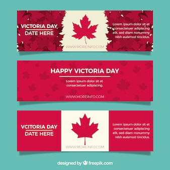 Victoria day banner with canadian flag design