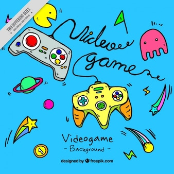 Video game elements with blue background