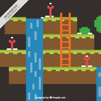 Video game flat scene background with waterfall