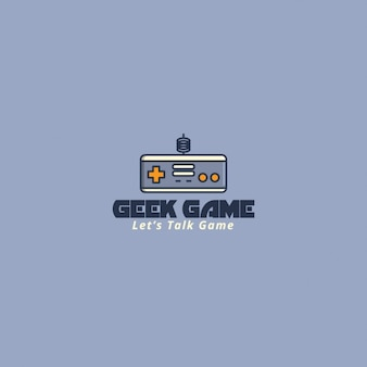 Video game logo, gray background