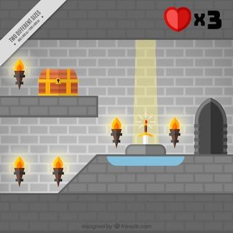 Video game scene in a stone castle