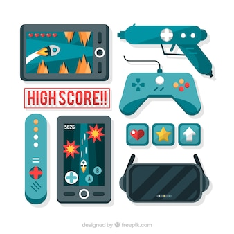 Video games and controllers in flat design