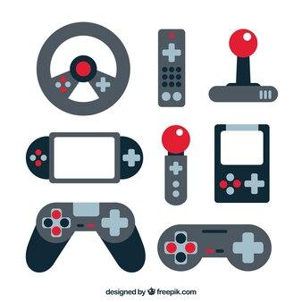 Videogame elements set in flat design