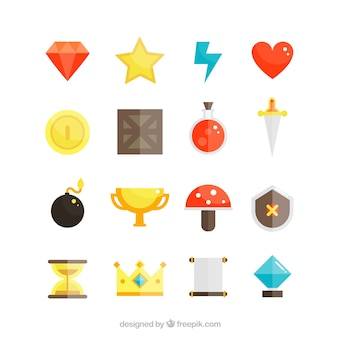 Videogame icons objects set