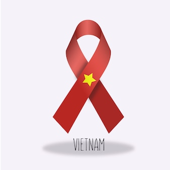 Vietnam flag ribbon design