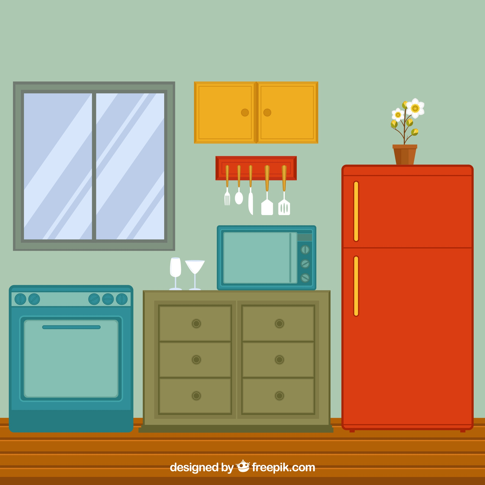 View of flat kitchen with fridge and oven