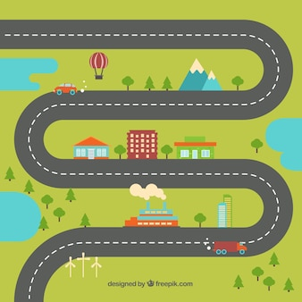 Village in flat design with a wavy road
