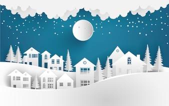 冬の風景の背景に村