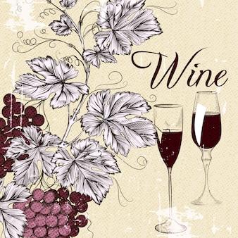 Vineyard background and hand drawn wine glasses