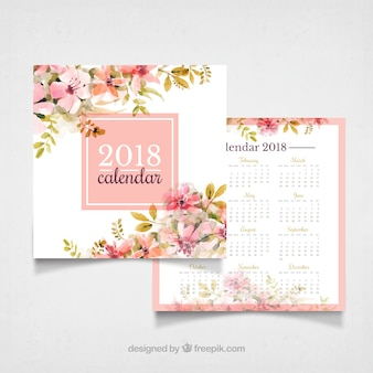 Vintage 2018 calendar with watercolor flowers
