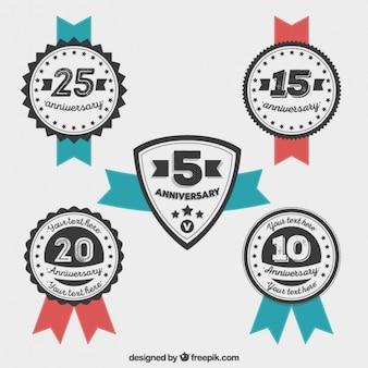 Vintage anniversary badges pack