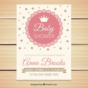 Vintage baby shower invitation with stars