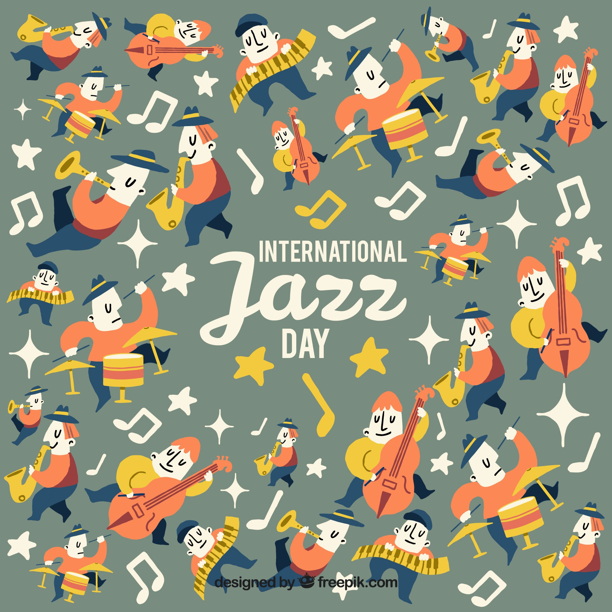 Vintage background of characters and jazz music