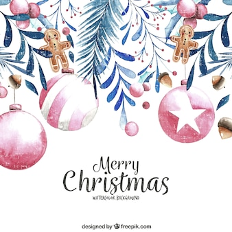 Vintage background of christmas balls and watercolor decoration