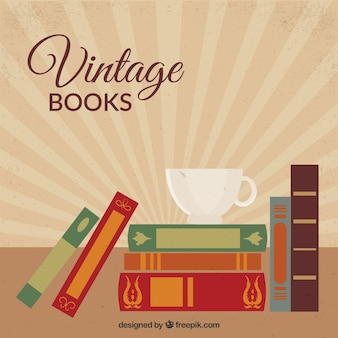 Vintage background of cup with books