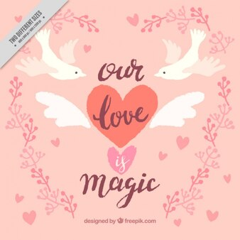 Vintage background of doves with love message