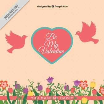 Vintage background of flowers and heart with pigeons