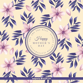 Vintage background of flowers with leaves of mother's day