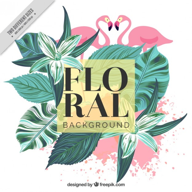 Vintage background of hand-painted palm leaves and flamingos