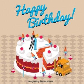 Vintage background of happy birthday cake
