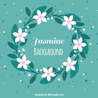 Vintage background of jasmine wreath
