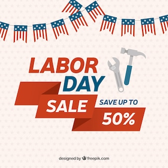Vintage background of labor day sales with garlands
