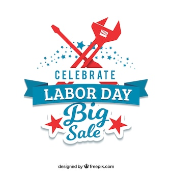 Vintage background of labor day sales with tools