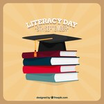 Vintage background of literacy day