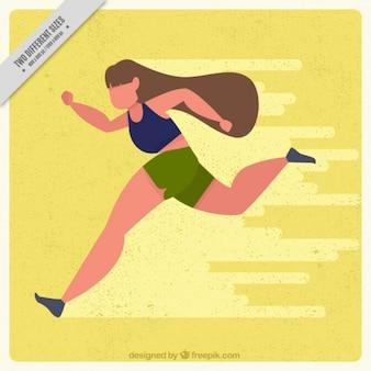 Vintage background of sportswoman running