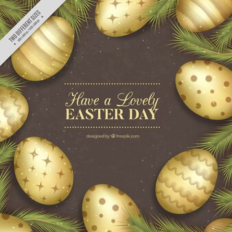 Vintage background of various easter eggs