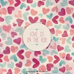 Vintage background of watercolor hearts