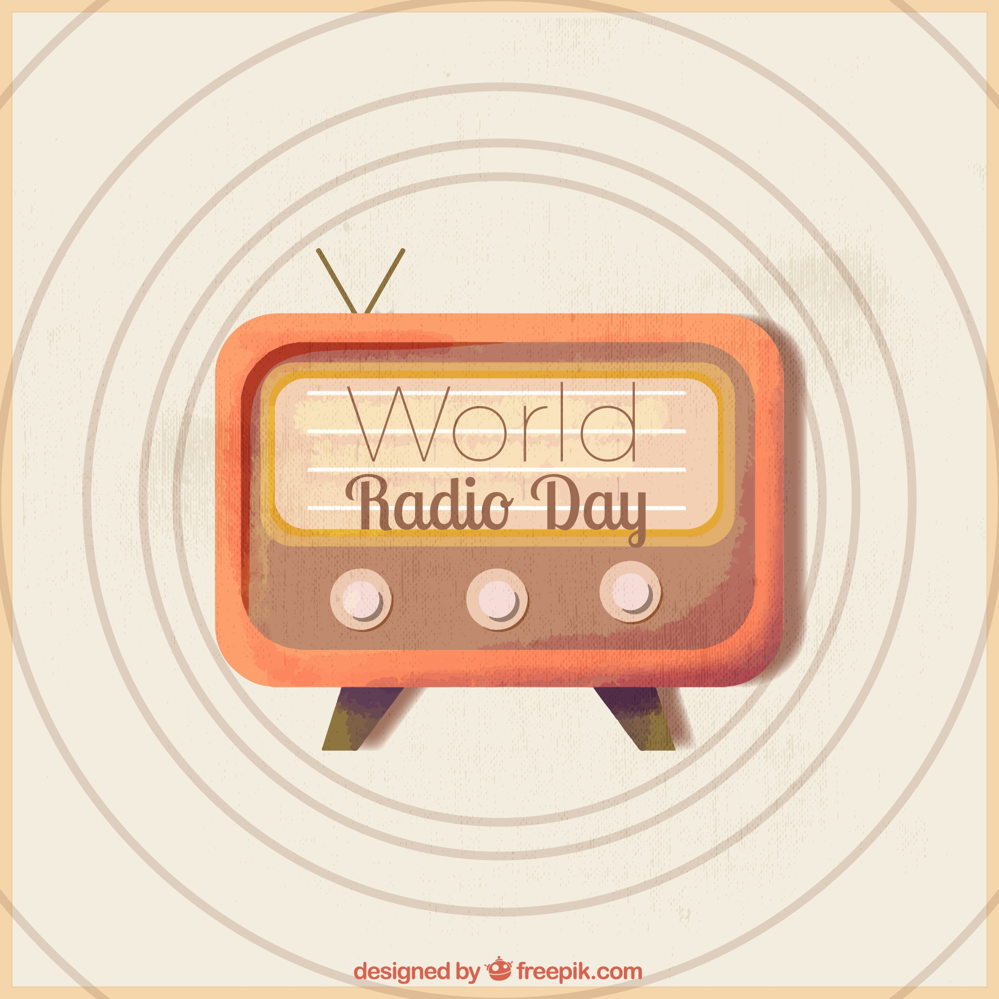 Vintage background of world radio day
