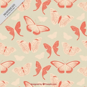 Vintage background with butterflies in red tones