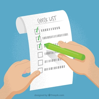 Vintage background with checklist and hand holding a green pencil