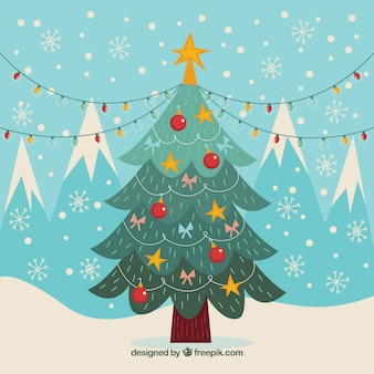 Vintage background with christmas tree and decorative elements