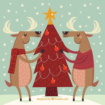 Vintage background with christmas tree and reindeer