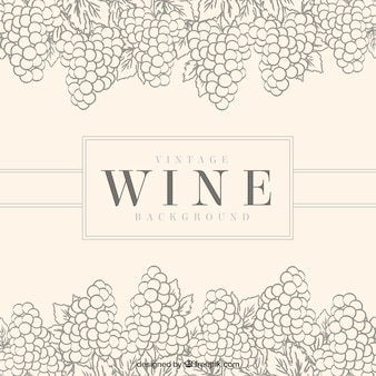Vintage background with decorative bunches of grapes