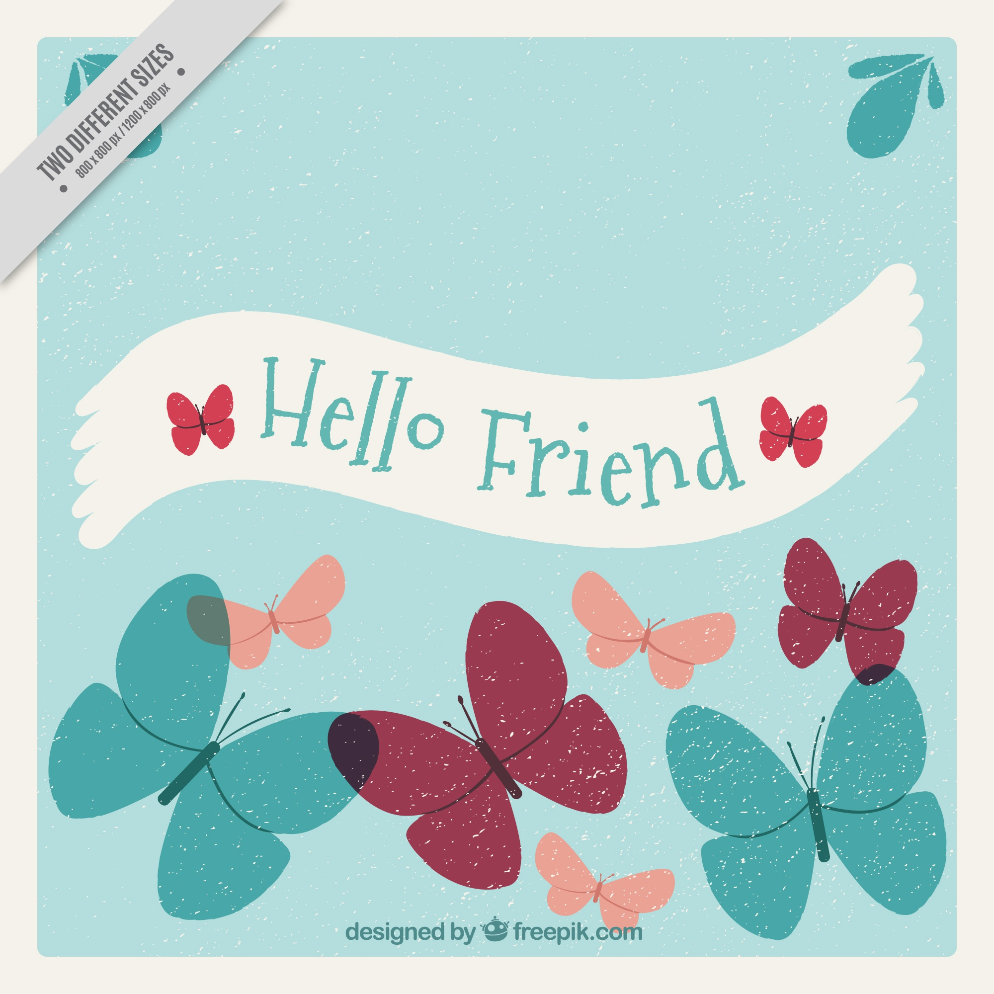 Vintage background with decorative butterflies